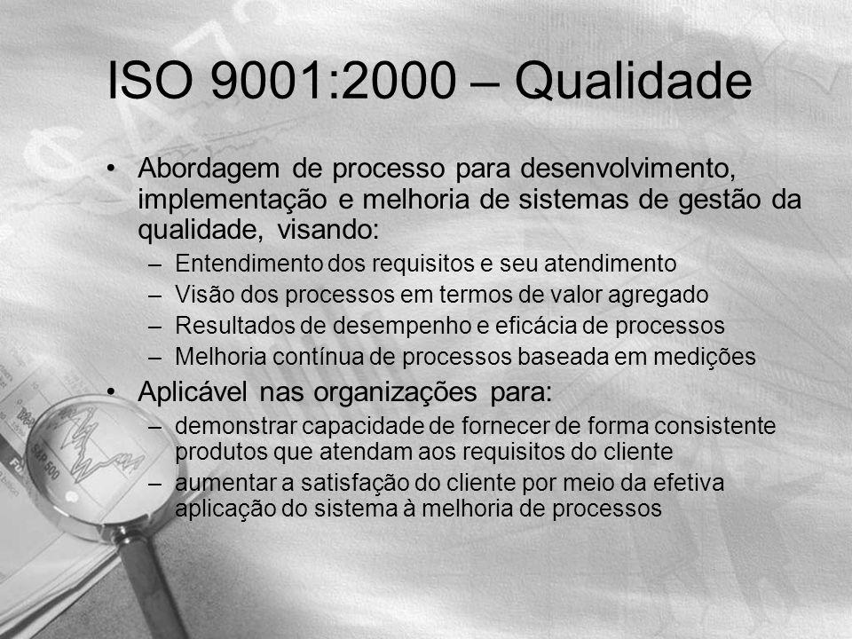 ISO 9001:2000 – Qualidade Abordagem de processo para desenvolvimento, implementação e melhoria de sistemas de gestão da qualidade, visando:
