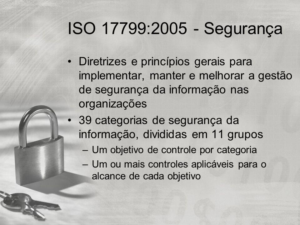 ISO 17799:2005 - Segurança Diretrizes e princípios gerais para implementar, manter e melhorar a gestão de segurança da informação nas organizações.