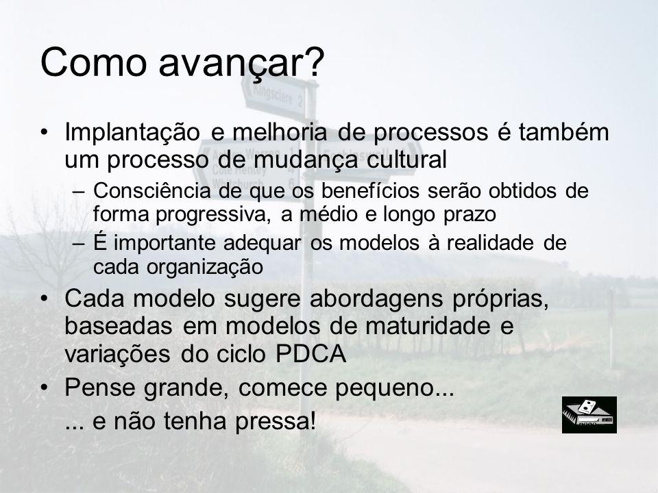 Como avançar Implantação e melhoria de processos é também um processo de mudança cultural.