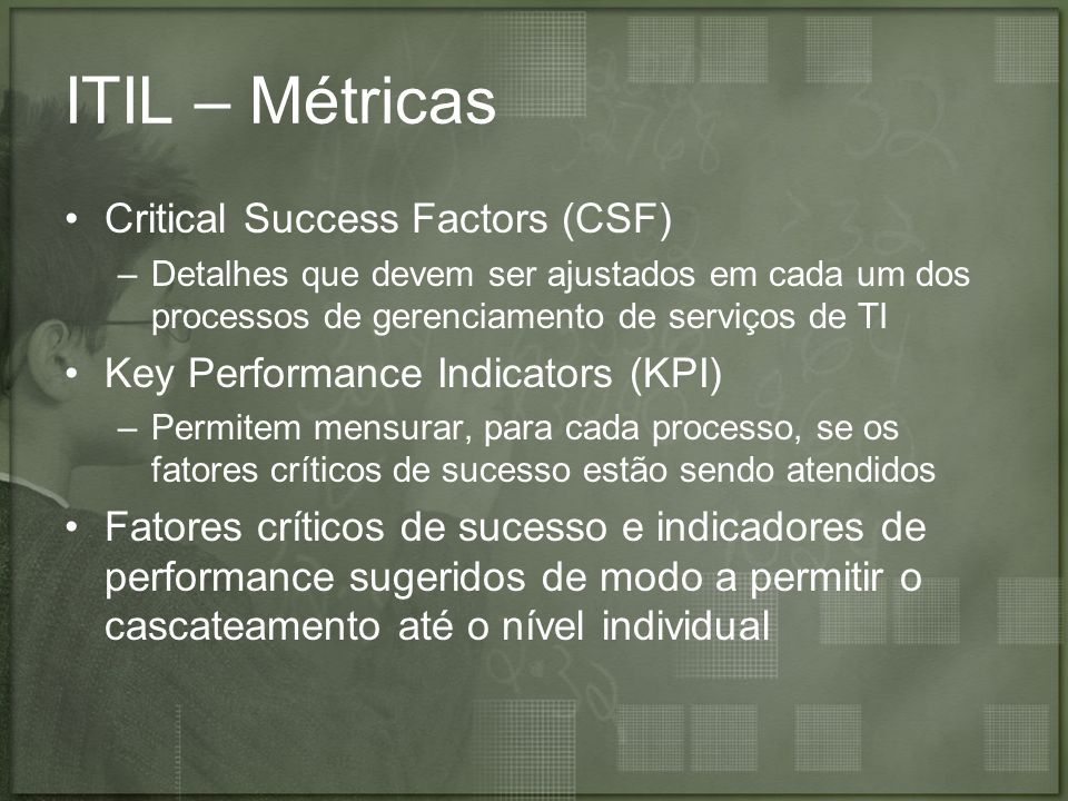 ITIL – Métricas Critical Success Factors (CSF)