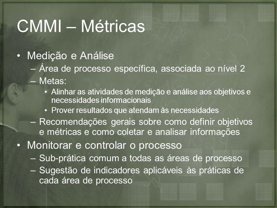 CMMI – Métricas Medição e Análise Monitorar e controlar o processo