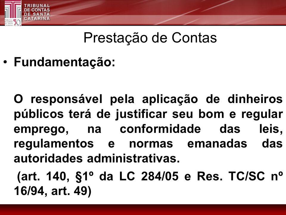 Prestação de Contas Fundamentação: