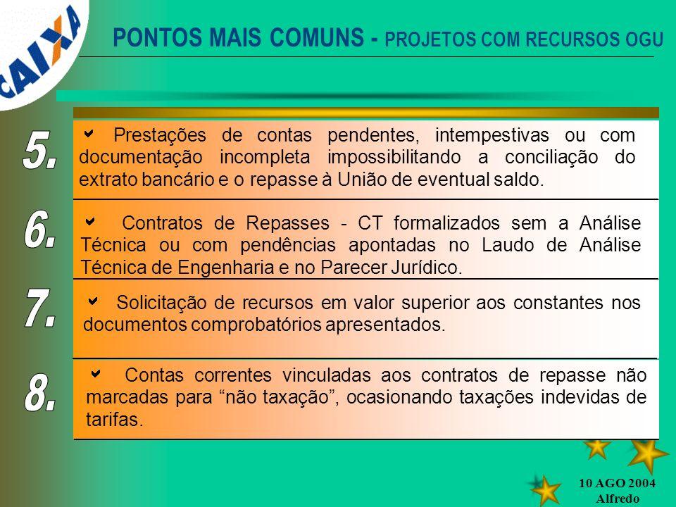PONTOS MAIS COMUNS - PROJETOS COM RECURSOS OGU