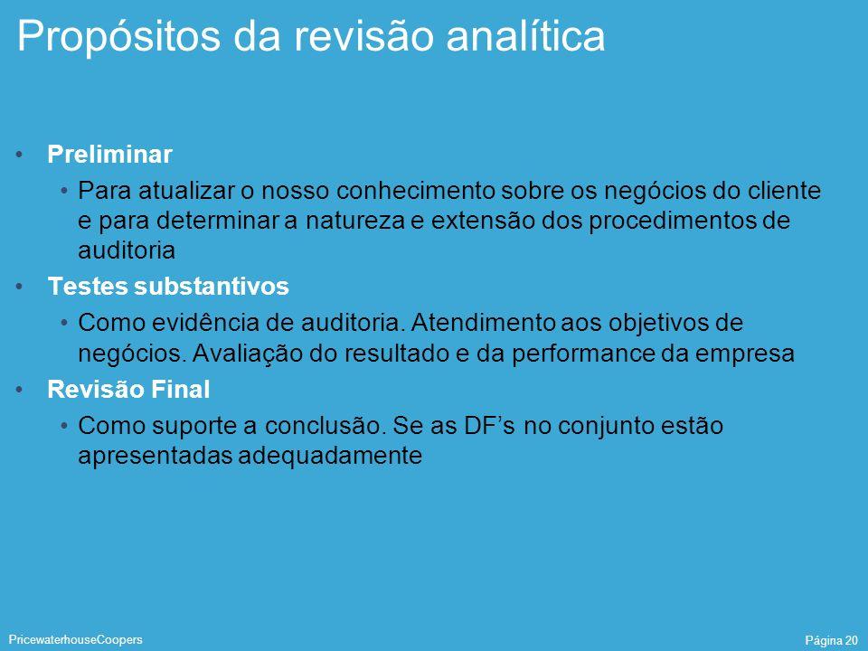 Propósitos da revisão analítica