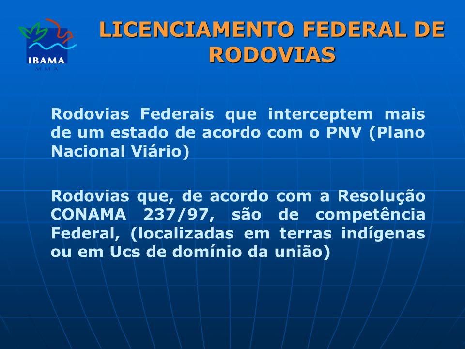 LICENCIAMENTO FEDERAL DE RODOVIAS