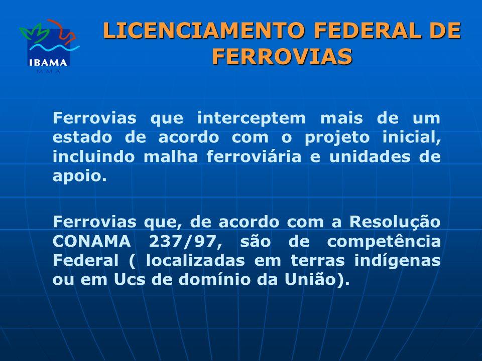 LICENCIAMENTO FEDERAL DE FERROVIAS