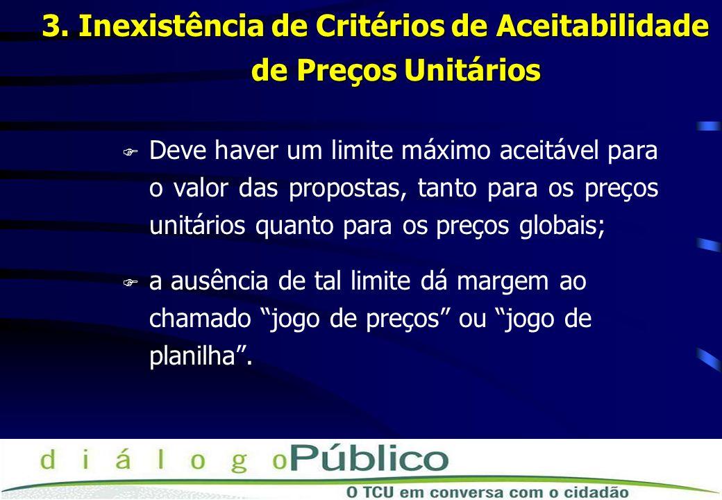 3. Inexistência de Critérios de Aceitabilidade de Preços Unitários