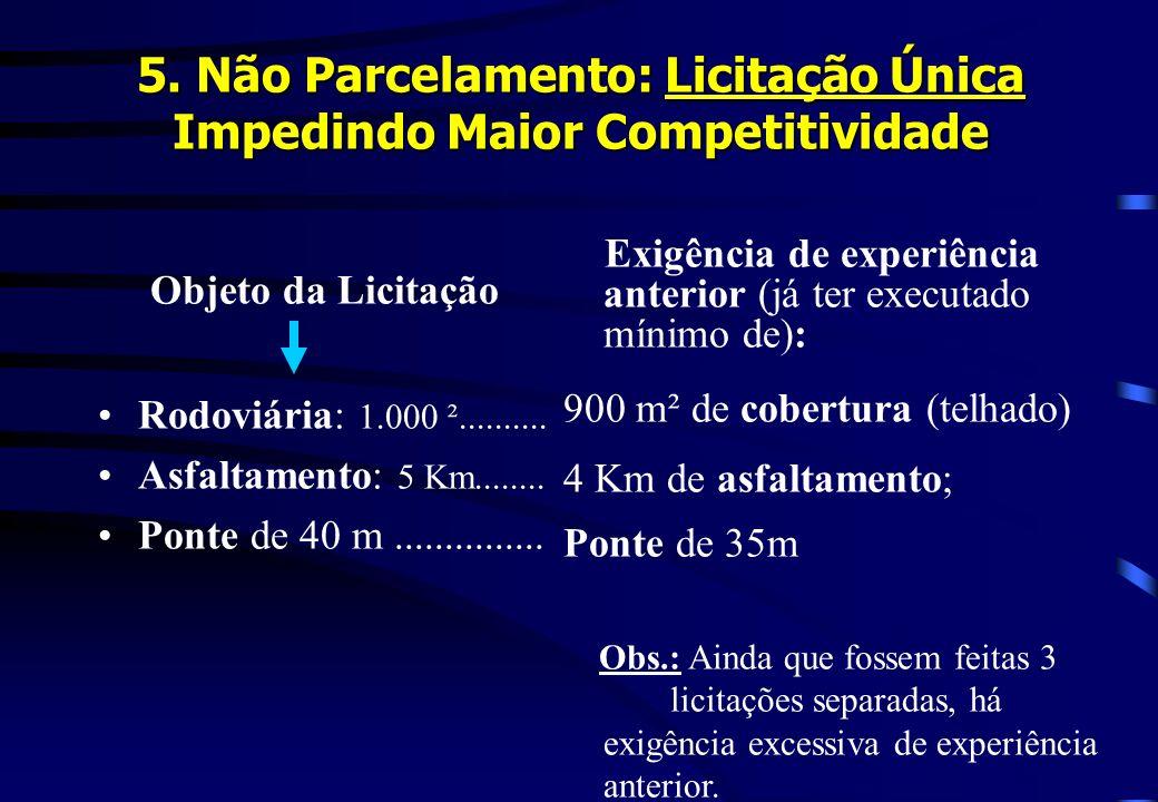 5. Não Parcelamento: Licitação Única Impedindo Maior Competitividade