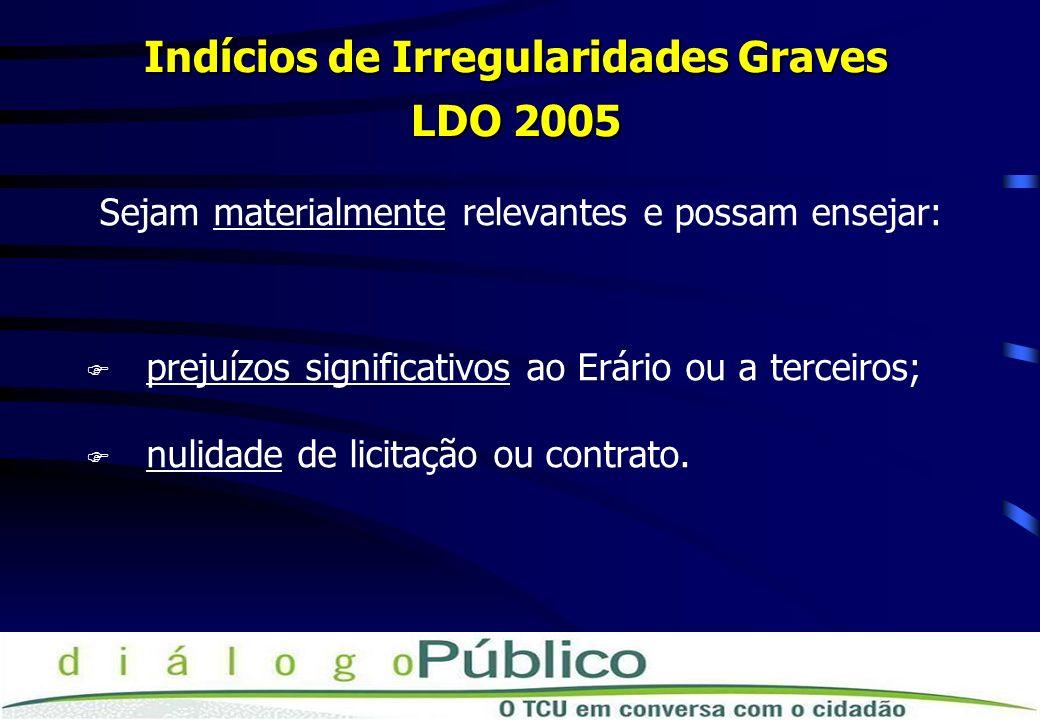 Indícios de Irregularidades Graves LDO 2005