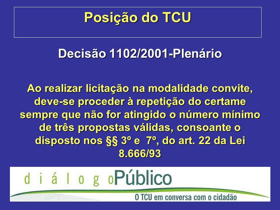 Posição do TCU Decisão 1102/2001-Plenário