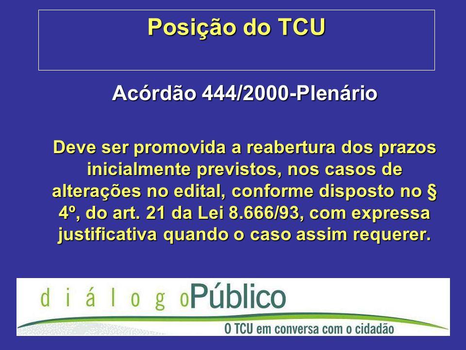 Posição do TCU Acórdão 444/2000-Plenário