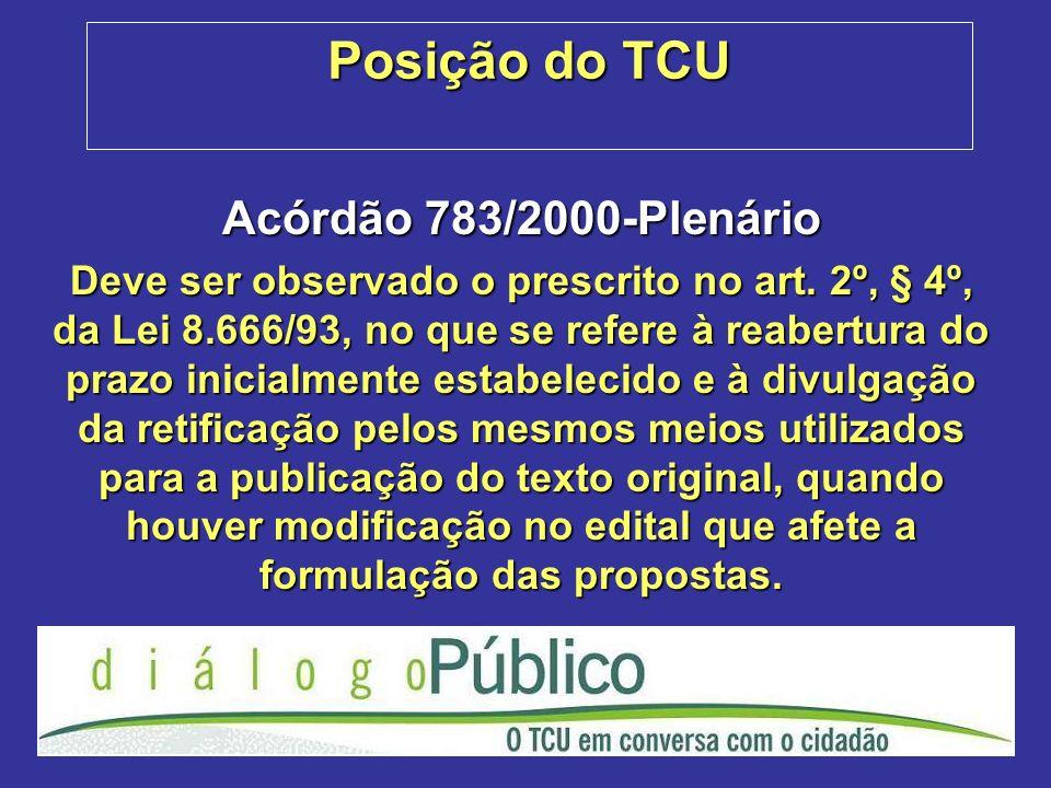 Posição do TCU Acórdão 783/2000-Plenário