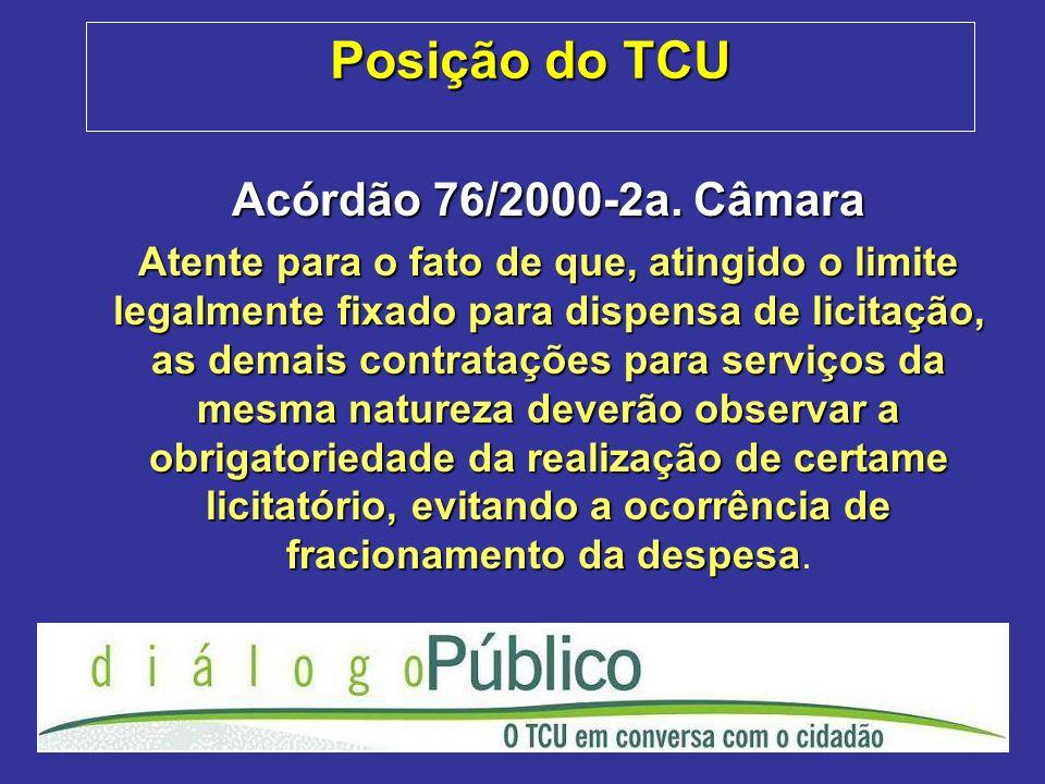 Posição do TCU Acórdão 76/2000-2a. Câmara
