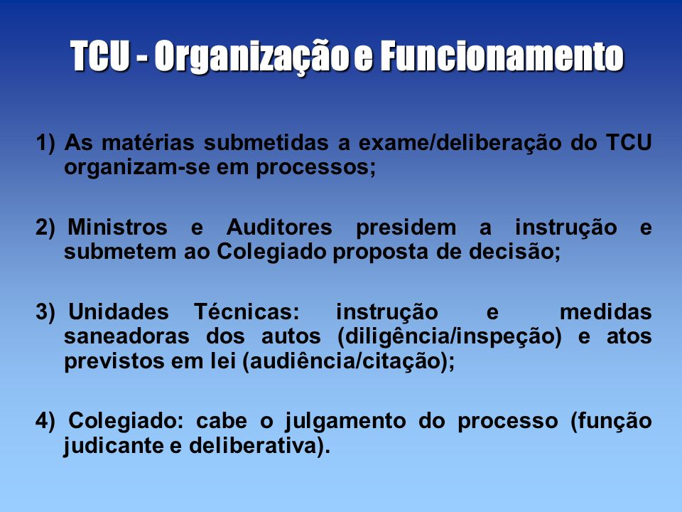 TCU - Organização e Funcionamento