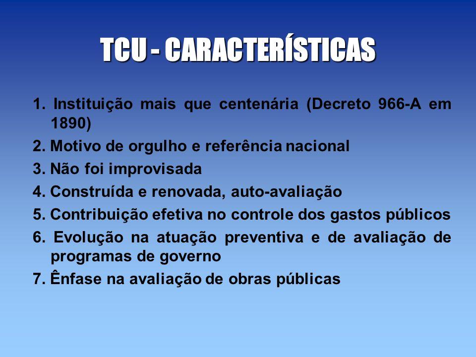 TCU - CARACTERÍSTICAS 1. Instituição mais que centenária (Decreto 966-A em 1890) 2. Motivo de orgulho e referência nacional.
