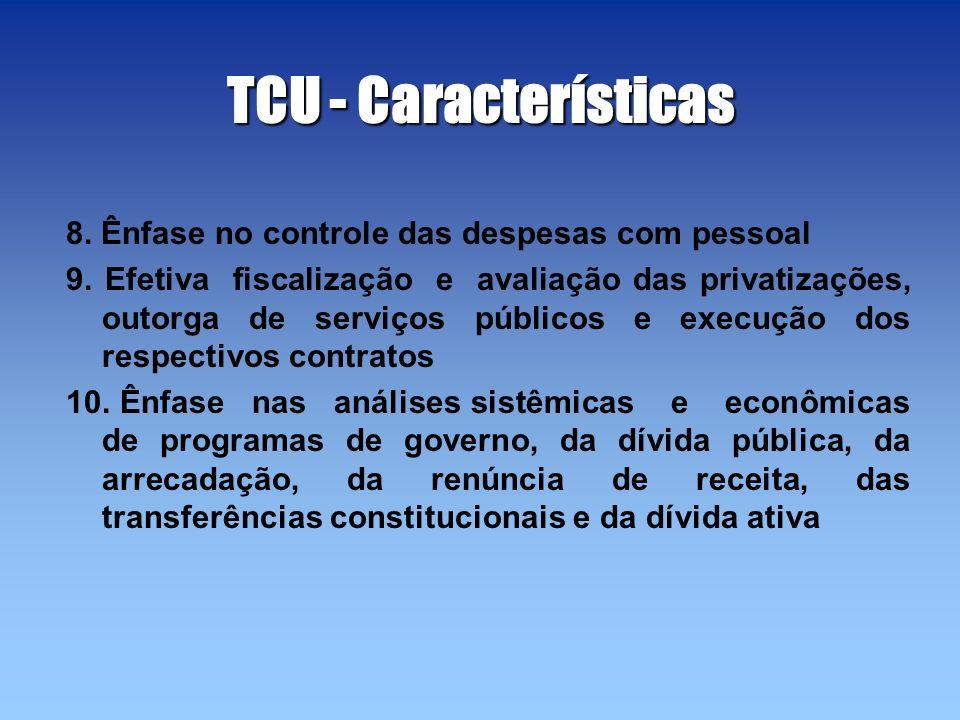 TCU - Características 8. Ênfase no controle das despesas com pessoal