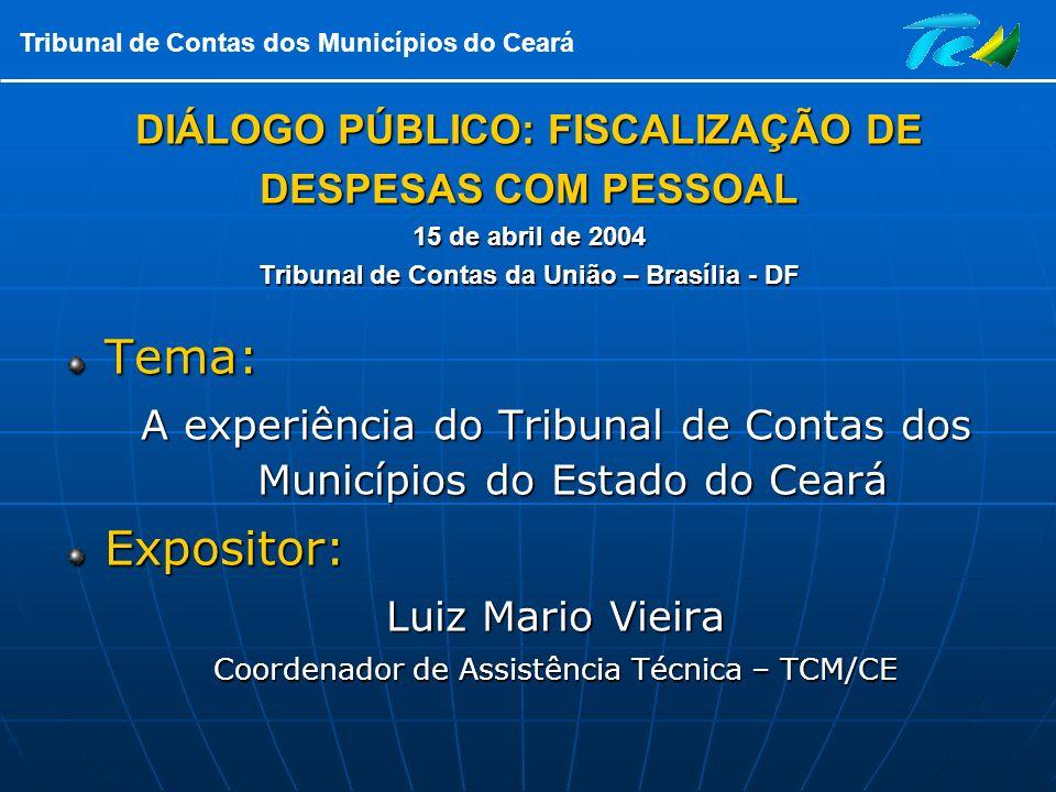DIÁLOGO PÚBLICO: FISCALIZAÇÃO DE DESPESAS COM PESSOAL 15 de abril de 2004 Tribunal de Contas da União – Brasília - DF
