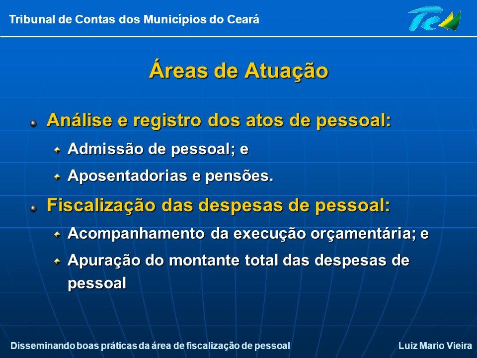 Áreas de Atuação Análise e registro dos atos de pessoal: