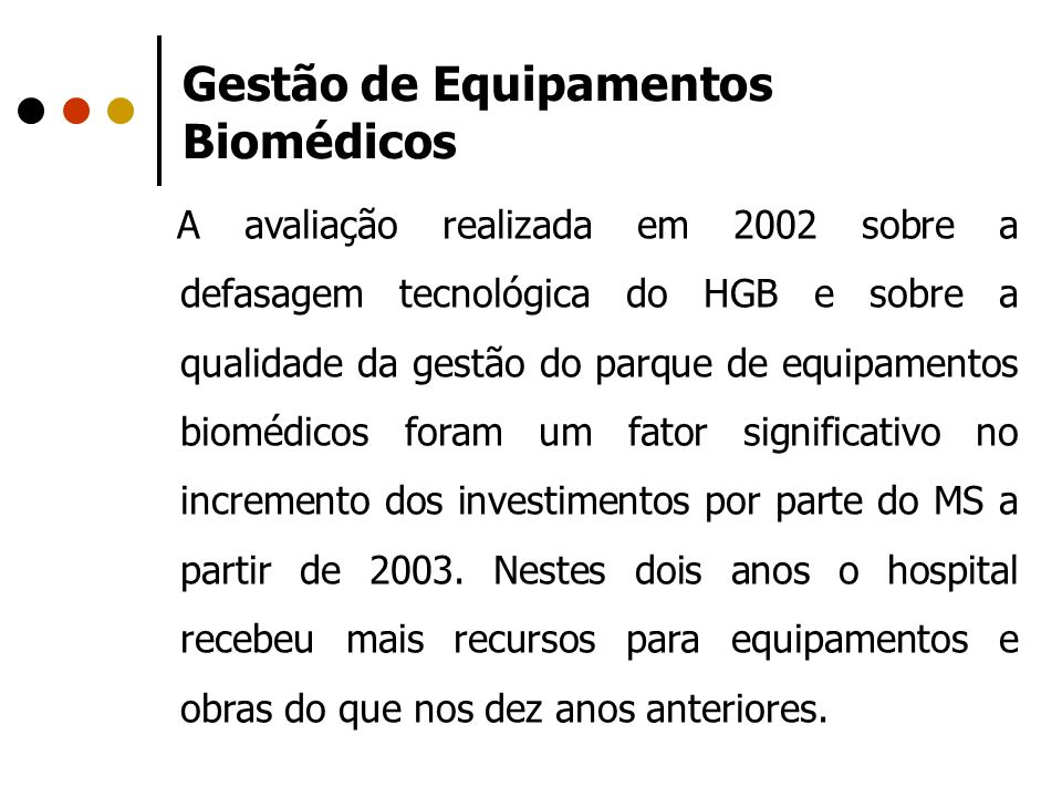 Gestão de Equipamentos Biomédicos