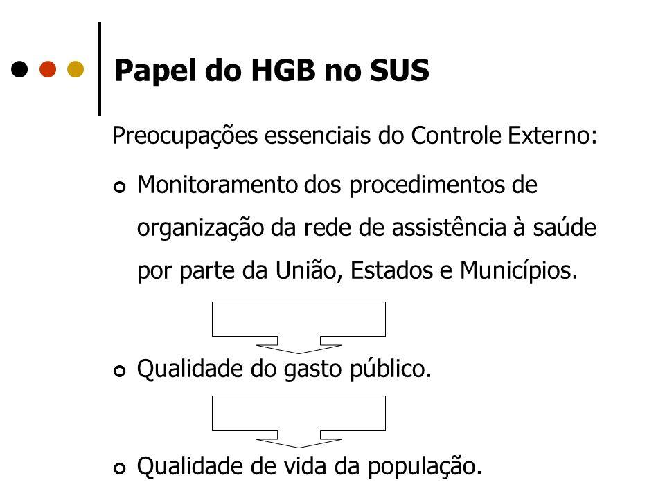 Papel do HGB no SUS Preocupações essenciais do Controle Externo: