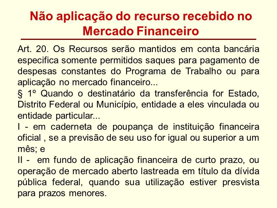 Não aplicação do recurso recebido no Mercado Financeiro