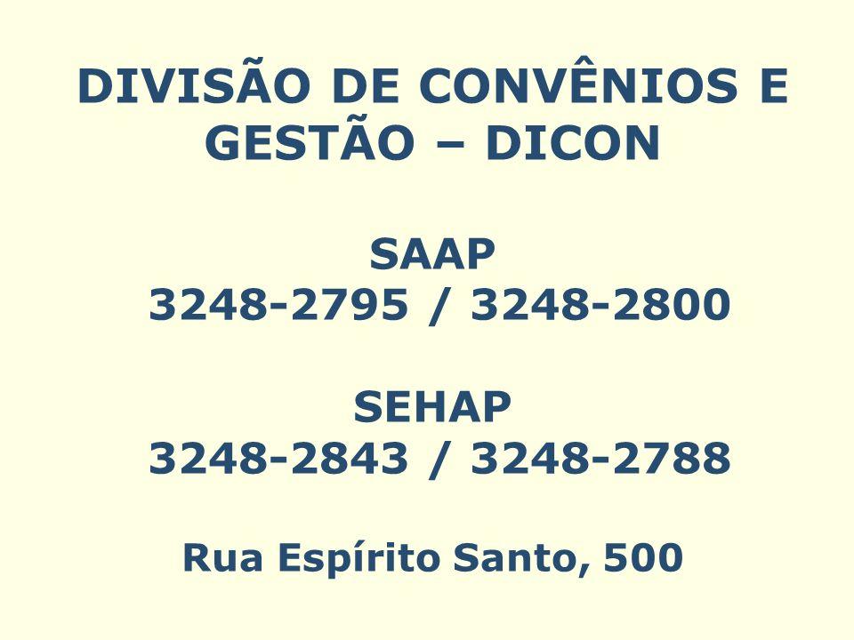 DIVISÃO DE CONVÊNIOS E GESTÃO – DICON