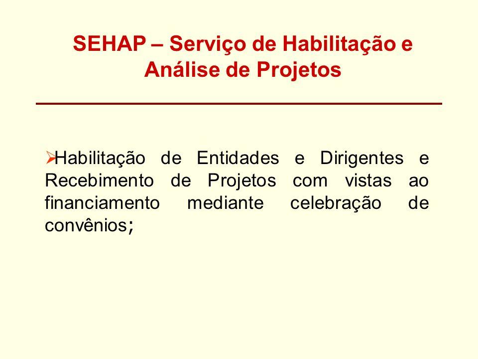 SEHAP – Serviço de Habilitação e Análise de Projetos