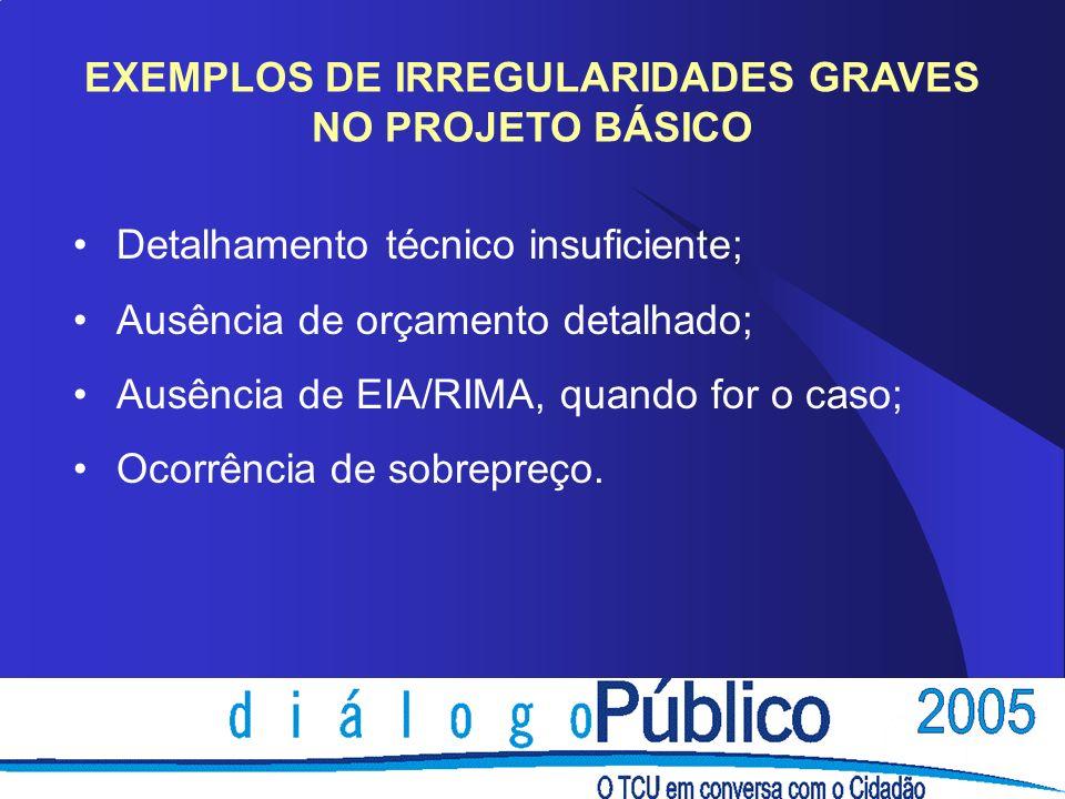 EXEMPLOS DE IRREGULARIDADES GRAVES NO PROJETO BÁSICO