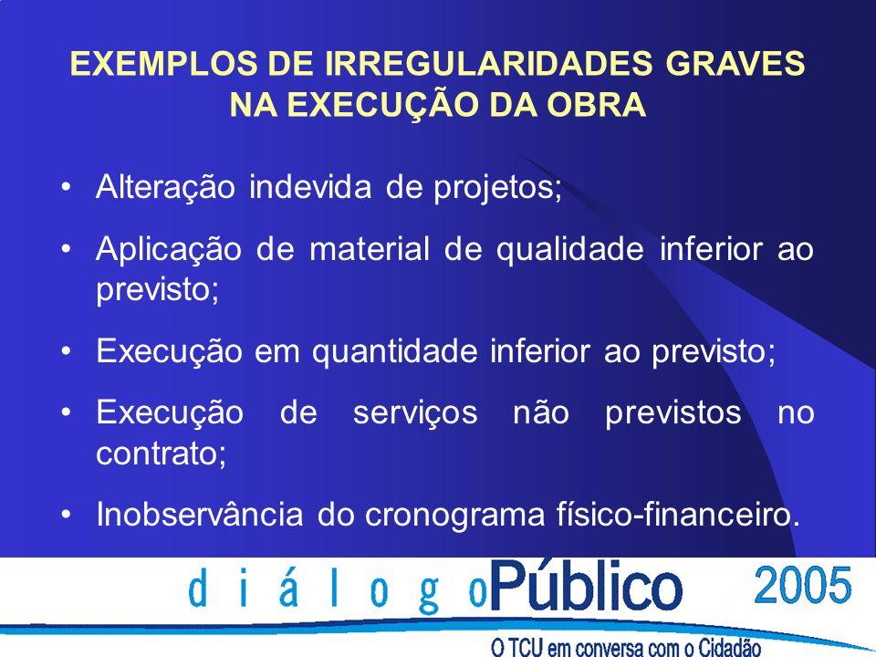 EXEMPLOS DE IRREGULARIDADES GRAVES NA EXECUÇÃO DA OBRA