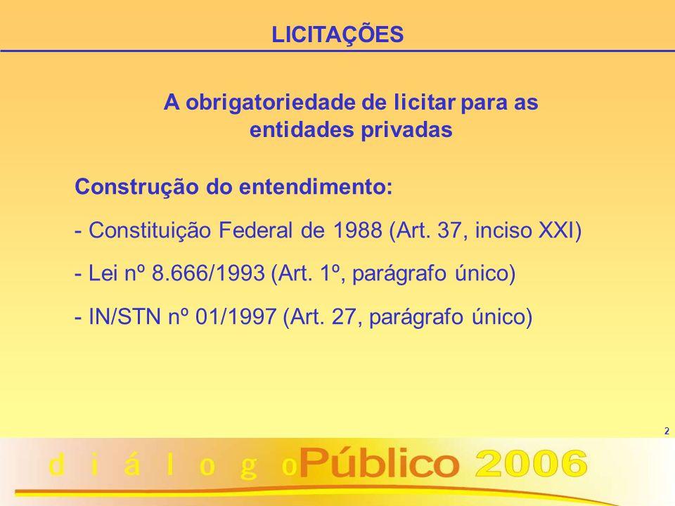 LICITAÇÕES A obrigatoriedade de licitar para as entidades privadas