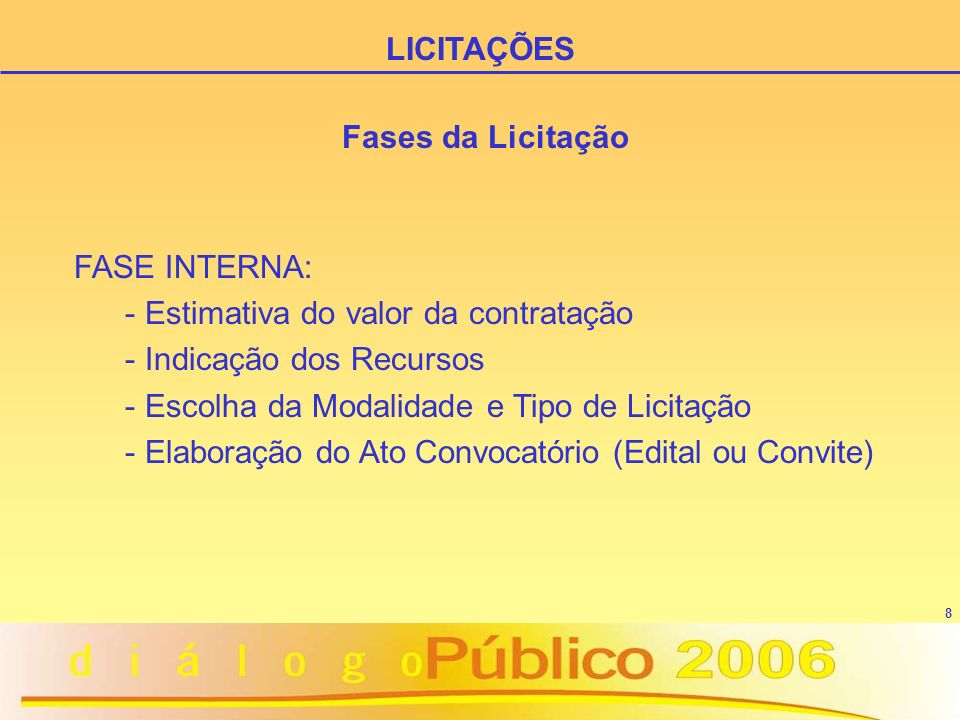 LICITAÇÕES Fases da Licitação. FASE INTERNA: Estimativa do valor da contratação. Indicação dos Recursos.