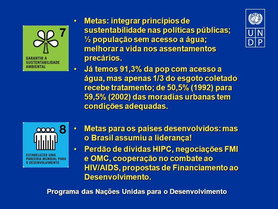 Metas: integrar princípios de sustentabilidade nas políticas públicas; ½ população sem acesso a água; melhorar a vida nos assentamentos precários.