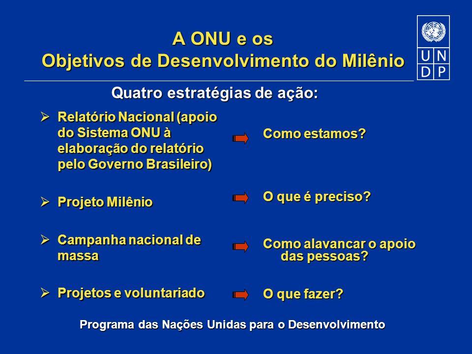 A ONU e os Objetivos de Desenvolvimento do Milênio