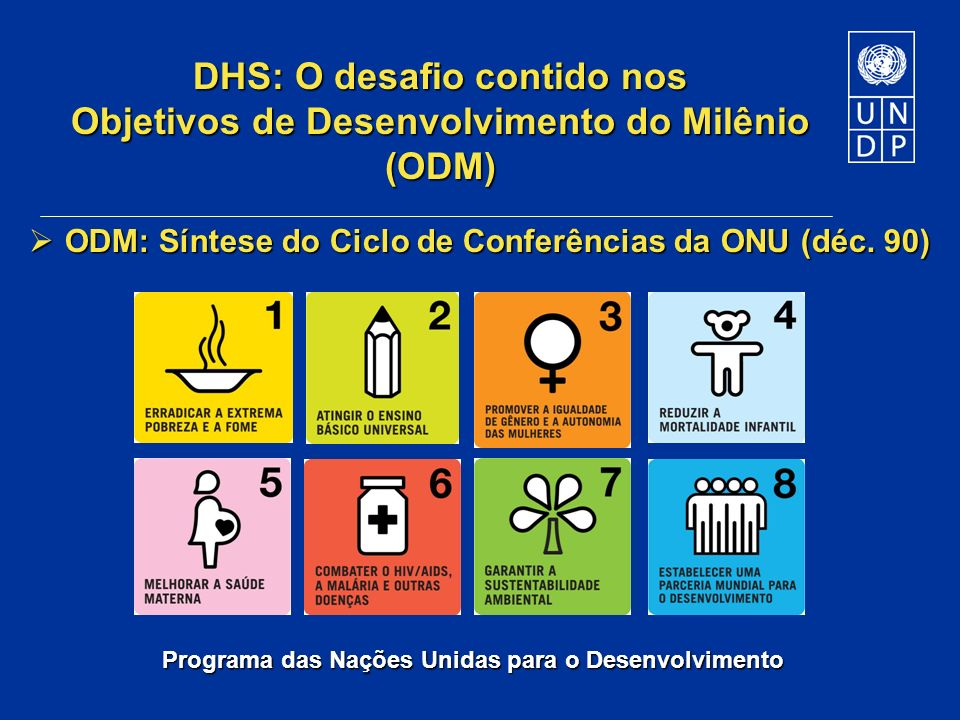 DHS: O desafio contido nos Objetivos de Desenvolvimento do Milênio (ODM)
