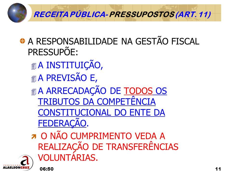 RECEITA PÚBLICA- PRESSUPOSTOS (ART. 11)