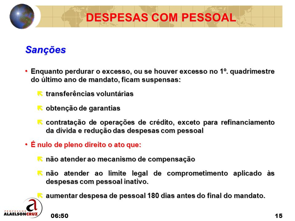 DESPESAS COM PESSOAL Sanções