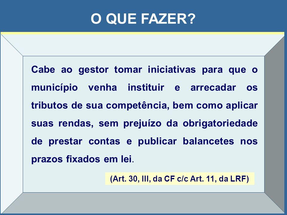 (Art. 30, III, da CF c/c Art. 11, da LRF)