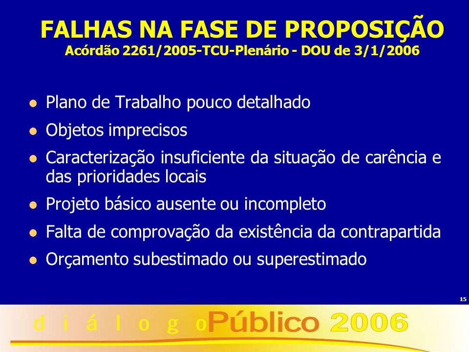 FALHAS NA FASE DE PROPOSIÇÃO Acórdão 2261/2005-TCU-Plenário - DOU de 3/1/2006