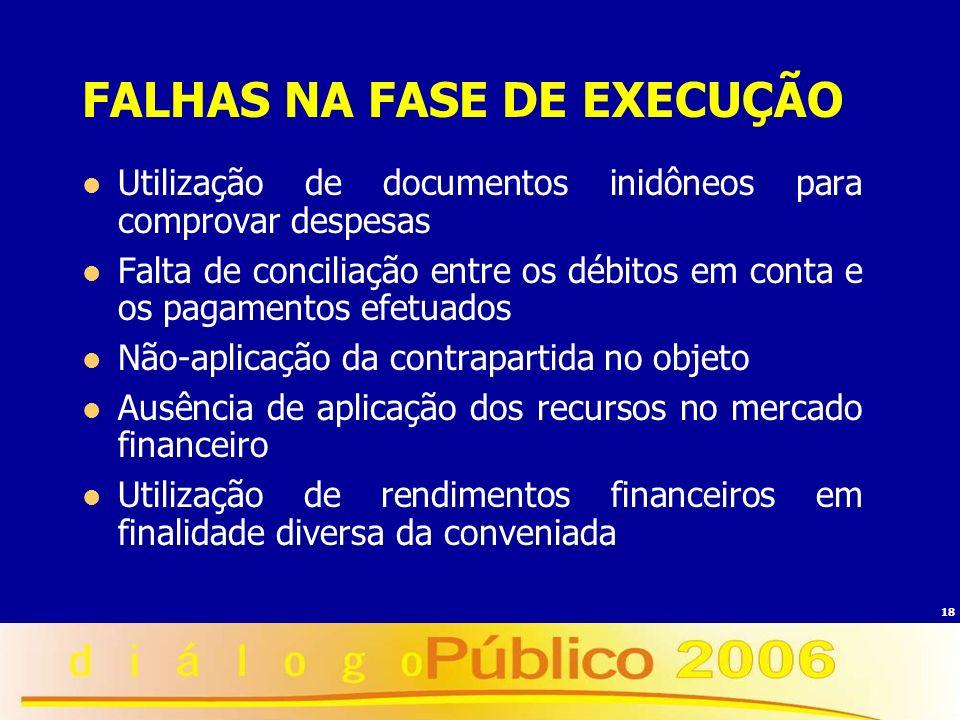 FALHAS NA FASE DE EXECUÇÃO