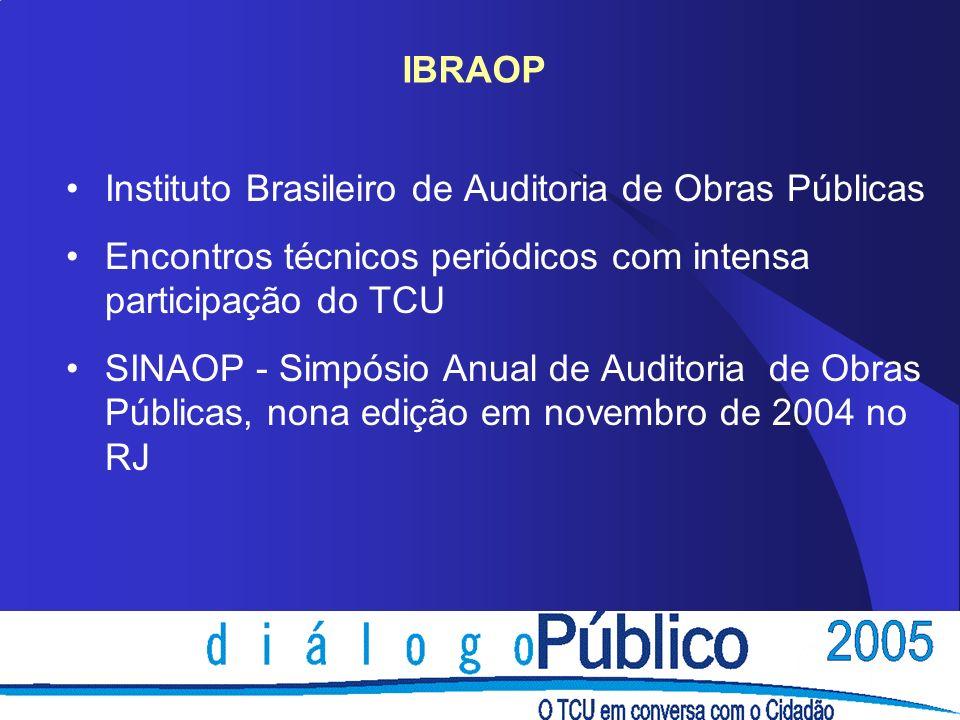 IBRAOP Instituto Brasileiro de Auditoria de Obras Públicas. Encontros técnicos periódicos com intensa participação do TCU.