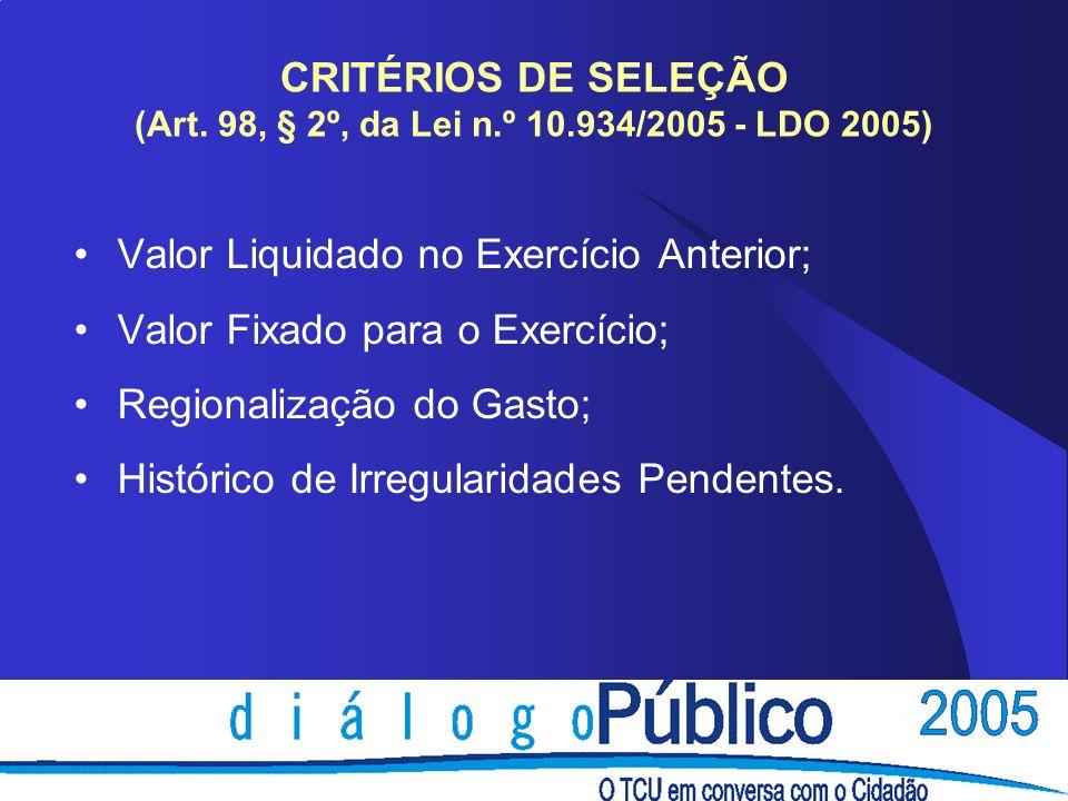 CRITÉRIOS DE SELEÇÃO (Art. 98, § 2º, da Lei n. º 10