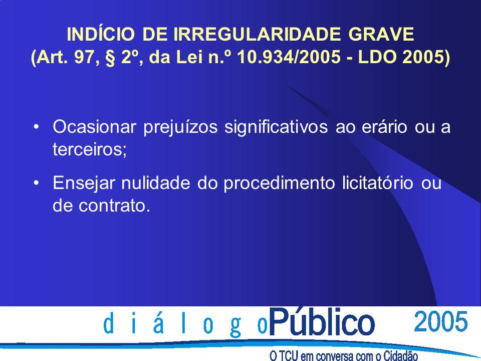 INDÍCIO DE IRREGULARIDADE GRAVE (Art. 97, § 2º, da Lei n. º 10