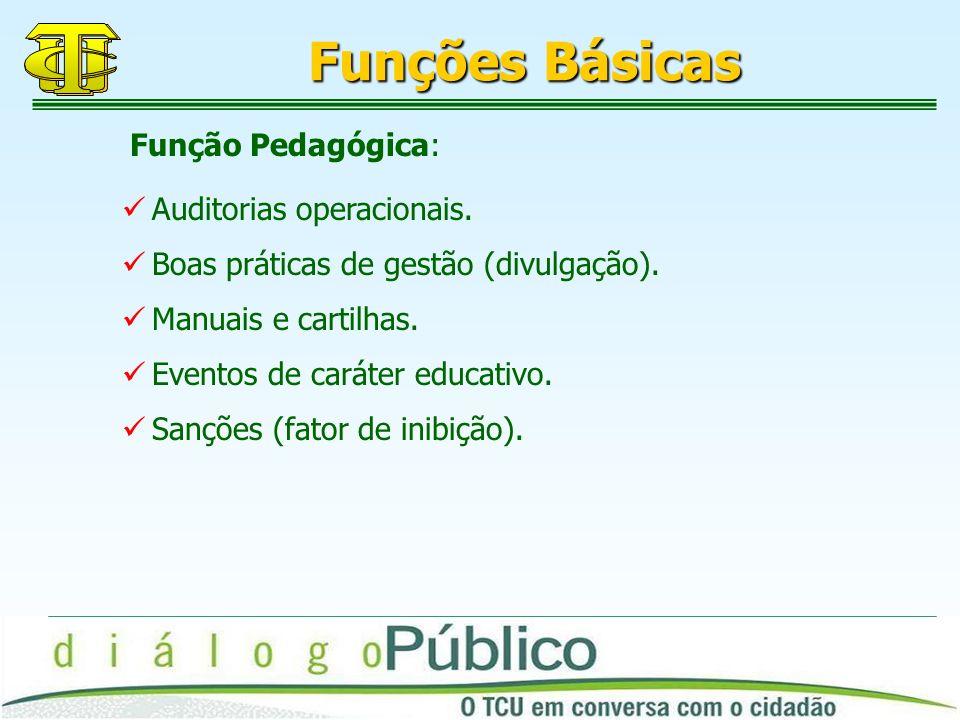 Funções Básicas Função Pedagógica: Auditorias operacionais.