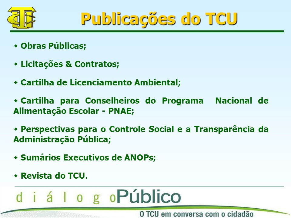 Publicações do TCU Obras Públicas; Licitações & Contratos;