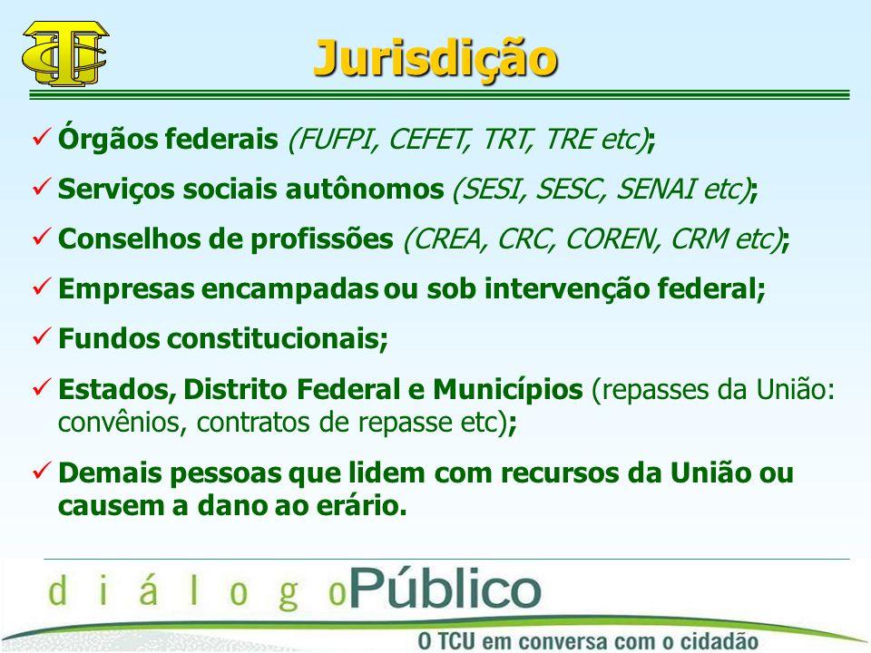 Jurisdição Órgãos federais (FUFPI, CEFET, TRT, TRE etc);