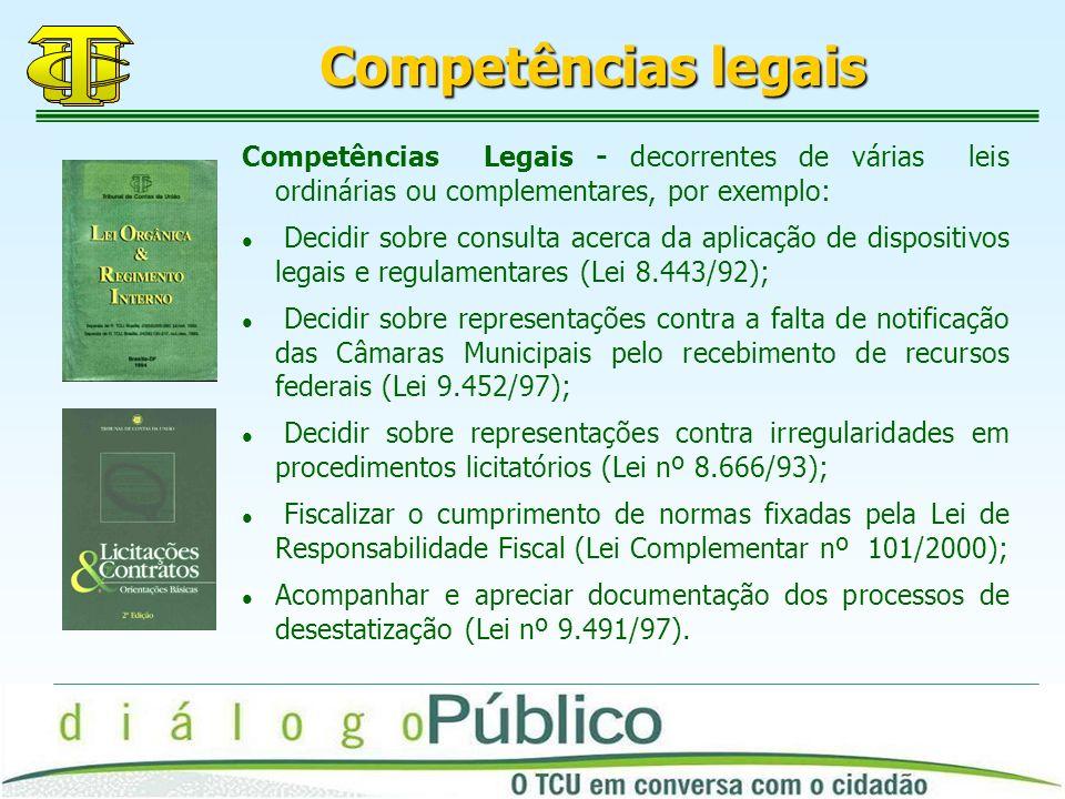 Competências legais Competências Legais - decorrentes de várias leis ordinárias ou complementares, por exemplo: