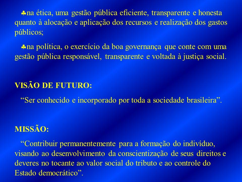 na ética, uma gestão pública eficiente, transparente e honesta quanto à alocação e aplicação dos recursos e realização dos gastos públicos;