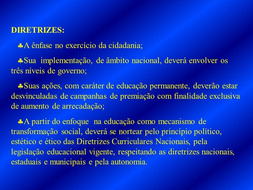DIRETRIZES: A ênfase no exercício da cidadania; Sua implementação, de âmbito nacional, deverá envolver os três níveis de governo;
