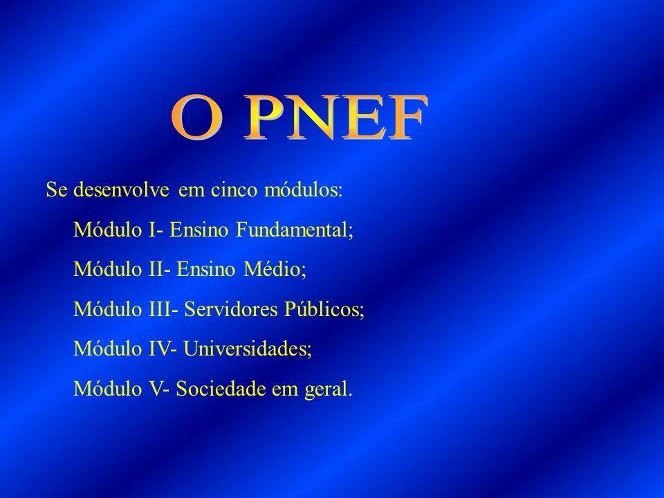 O PNEF Se desenvolve em cinco módulos: Módulo I- Ensino Fundamental;