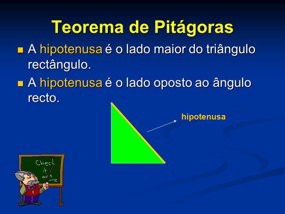 Teorema de Pitágoras A hipotenusa é o lado maior do triângulo rectângulo. A hipotenusa é o lado oposto ao ângulo recto.